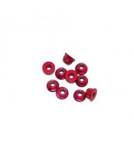 3MM. ALU. NYLON NUT W/FLANGED RED (10pcs) - UR1503-R - ULTIMATE