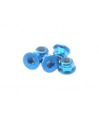 Ecrous épaulés nylstop alu 3mm Bleu clair - HIRO SEIKO - 69237
