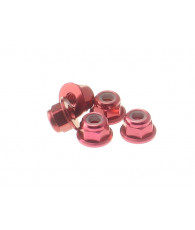 3mm Alloy Flange Nylon Nut [Red] - 69240 - HIRO SEIKO