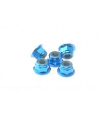 Ecrous épaulés nylstop alu 4mm Bleu clair - HIRO SEIKO - 69243