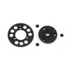 STEEL SPUR GEAR 65T / 48 + COMPOSITE SPUR GEAR ADAPTER - 385665 - XRA