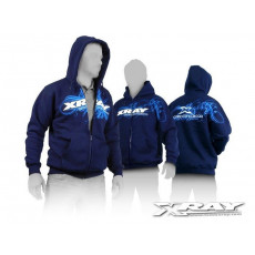 XRAY SWEATER HOODED WITH ZIPPER - BLUE (L) - 395600L - XRAY
