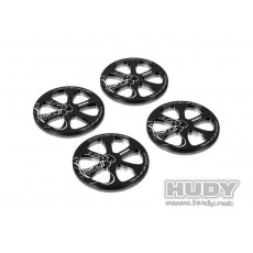 ALU SET-UP WHEEL FOR 1/10 RUBBER TIRES (4) - 109370 - HUDY