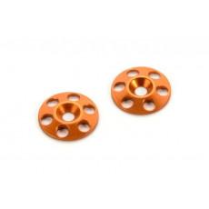 Rondelles Alu pour aileron Orange (2) - HUDY - 293561-O