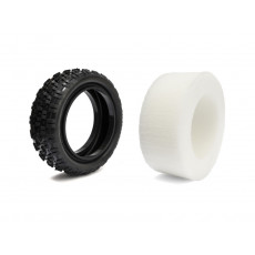 Pair of 1/10 Tyres Astro/Carpet Hard front 4wd + inserts - HOT RACE