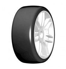 1:8 GT T02 SLICK S2 XSoft - Mounted white wheels (2) - GRP - GTJ02-S2