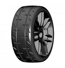1/8 GT T01 Revo S5 Medium - Mounted black wheels (2) - GRP - GTX01-S5