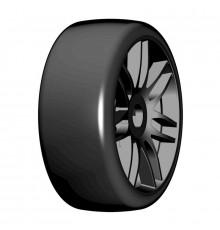 1:8 GT T02 SLICK S5 Med - Mounted black wheels (2) - GRP - GTX02-S5
